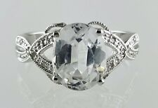 14k White Gold Diamond and Quarts Ladies Ring