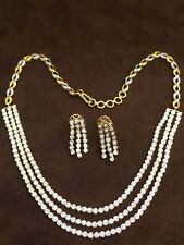 Classy 2.70 Cts Round Brilliant Cut Diamonds Necklace Earrings Set In 14K Gold