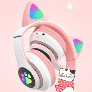 Casques sans fil Bluetooth Oreille de chat LED écouteurs Pour Filles Enfants