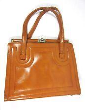 Vintage Purse Handbag Camel Brown Tan W. Metal Clasp 60s 70s Mod Style Boho