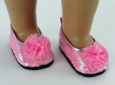 """Lovvbugg Pink Sequins Flowers Flat for 18"""" American Girl n Bitty Baby Doll Shoes"""