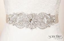 SERENA - Beaded Rhinestone Bridal Sash, Wedding Belt