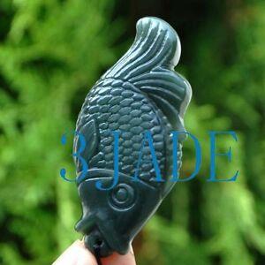 "2"" Natural Nephrite Jade Fish Gemstone Charm Pendant / Hand Carved Figurine"