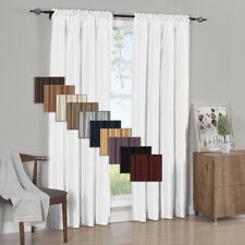 2PC Soho Faux Silk  Window Curtain Treatment Set Rod Pocket Panels