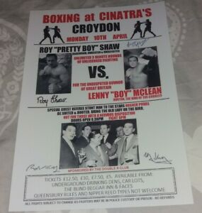 LENNY MCLEAN VS ROY SHAW FIGHT POSTER - WITH THE KRAYS - THE GUVNOR - BOXING.