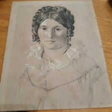 More details for circ 1850 female pencil portrait attributed to a young john everett millais