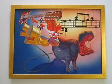 VINTAGE 1970'S ROCK ALBUM PAINTING SURREAL MUSICIAN GUITAR HIPPO AMP MUSIC MOD