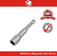 """1/4"""" Shank 8mm Magnetic Hex Socket Spanner Nut Driver Bit - 65mm"""
