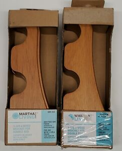 "2 Martha Stewart 1-3/8"" Wood Bracket Heritage Oak Finish Double Rod 699266 2 Pk"