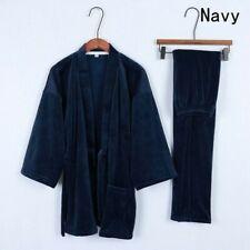 Japanese Velvet Pajamas Set Lady 3/4 Sleeve Kimono Top Long Pants Sleepwear Suit