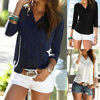 Women Lace Patchwork Long Sleeve T Shirt Blouse Casual Loose Ladies Tops UK 8-22
