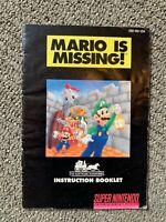 Original MARIO is MISSING Instruction Manual Booklet Only SNES Super Nintendo
