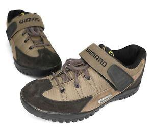 Shimano MEN'S Brown Leather Bike Cycling Shoes W/ 2-Bolt Bike Clips Size 6 US