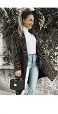 Zara Oversized Long Animal Print Double Breasted Wool Brend Coat Size S
