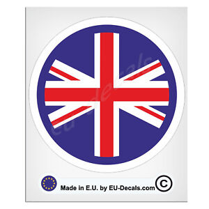 100mm-4'' Round UK Flag white outline Union Jack Laminated Decal Sticker classic