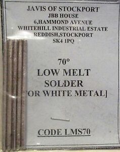 Javis LMS70 - 25gms Pack Low Melt 70 Deg. Solder for White Metal -1st Class Post