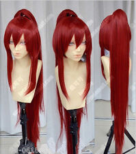 Fairy Tail Erza Scarlet Dark Red Cosplay Party Wig w/ Ponytails +1 ponytail