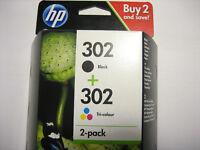 HP ORIGINAL HP 302 Black + Color for DJ DESKJET 3630   Envy 4520 officejet 6500