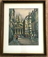 SIGUIC FRENCH ARTIST WATERCOLOR EUROPEAN STREET SCENE SIGNED ORIGINAL