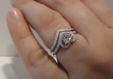 Heart Engagement Ring W/ 2.50 Ct Lab Diamonds / Sz 5 - 9 / 925 Sterling Silver