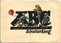 uralte AK, Alles Gute zum Schulanfang, 3 Kinder sitzen auf ABC-Buchstaben