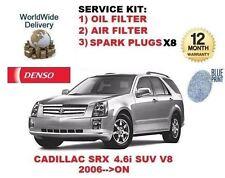 CADILLAC SRX 4.6 2006-->ON OIL FILTER + AIR FILTER + SPARK 8x PLUGS SERVICE KIT