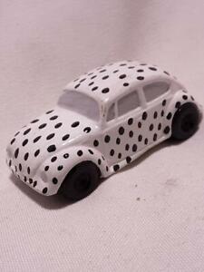 """WHITE WITH BLACK POKA DOTS VW Volkswagen Beetle Bug Christmas Figurine 2 1/2"""""""