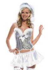 Santa Claus Silver Sequin Padded Bustier, Skirt & Hat UK 12 Fancy Dress Costume
