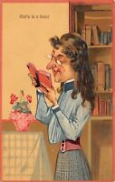 Comic Spinster~What's in a Brain?~Skinny Gal Reads Book~Bookcase~Emboss~#6742