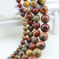 Wholesale Natural Picasso Gemstone Loose Round Spacer Beads Jewelry DIY 4-12mm