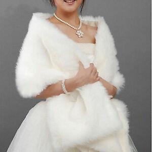 New ivory White Faux Fur Wrap Jacket Bolero Shawl Shrug Cape Bridal & Wedding ZQ