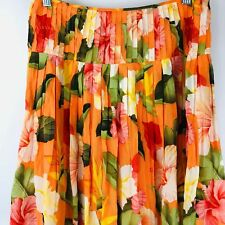 Tommy Bahama Skirt Size 2 Orange Tropical Floral Hawaiian Casual Pleats Flowy