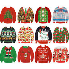 Christmas Unisex 3D Graphic Print Sweater Sweatshirt Retro Pullover Jumper Tops