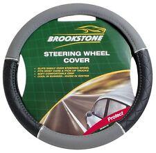 Brookstone Steering Wheel Cover Black And Grey Leather Look Fit Car Or Van