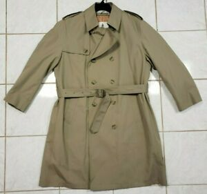 Misty Harbor Long Rain Trench Over Coat Mens Size 44 Large Tan Belted Liner (b9)