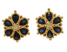E036 Genuine 9K Solid Rose Gold NATURAL Sapphire & DIAMOND Blossom Stud Earrings