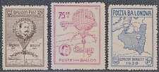 POLAND 1939 Semi-Official Air GORDON BENNETT BALLOON Sanabria 612-614 SET MINT