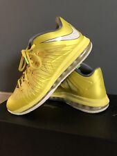 "Nike Air Max Lebron 10 X Low ""Sonic Yellow"" / Mens Size 11 W Box"