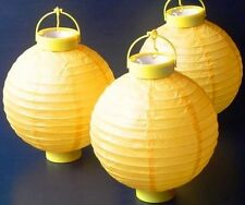 10 x Burnt Yellow Hanging Paper Lantern Battery LED Chinese Party Lights