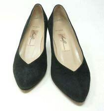 Vintage Amalfi Shoes Olivia Black Suede Leather Pumps Heels Size 7 B