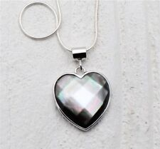 Sterling 925 Silver Mother-Of-Pearl Grey Faceted Heart Necklace - Tiffany Hall