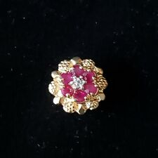 14K Yellow Gold KLJCI Richard Klein Slide Bracelet Charm Ruby Diamond