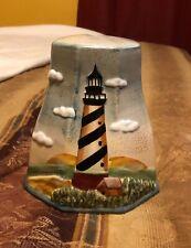 Nautical Lighthouse toilet Brush Holder Ceramic beach cottage