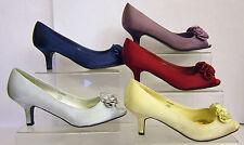 Kitten Heel Peep Toes Spot On Textile Shoes for Women