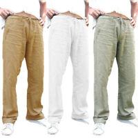 Men Loose Trousers Drawstring Cotton Linen Sweatpants Straight Pants Joggers