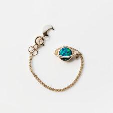 Earth Moon Design Australian Doublet Black Opal & Diamond Bracelet in 18K Gold