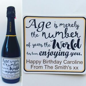 Birthday Quote Personalised Prosecco/Champagne/Wine Bottle Sticker/label. Gift