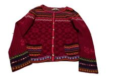 IVKO Nordic Style Sweater Cardigan Button Front 100% Wool Serbia L Multi-Colored