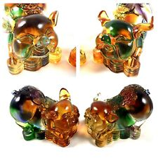 Amore Jewell Great Lucky Pig pair Decoration Ornament Liuli Crystal Glass