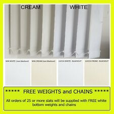 """Vertical Blinds replacement SLATS -  89mm 3.5"""" MIA or LUCCA BLACKOUT white cream"""